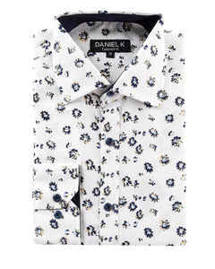 Men's Spring Button Up -White and Navy