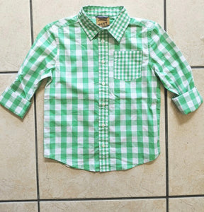 Boys Spring Long Sleeve Button Up-Green