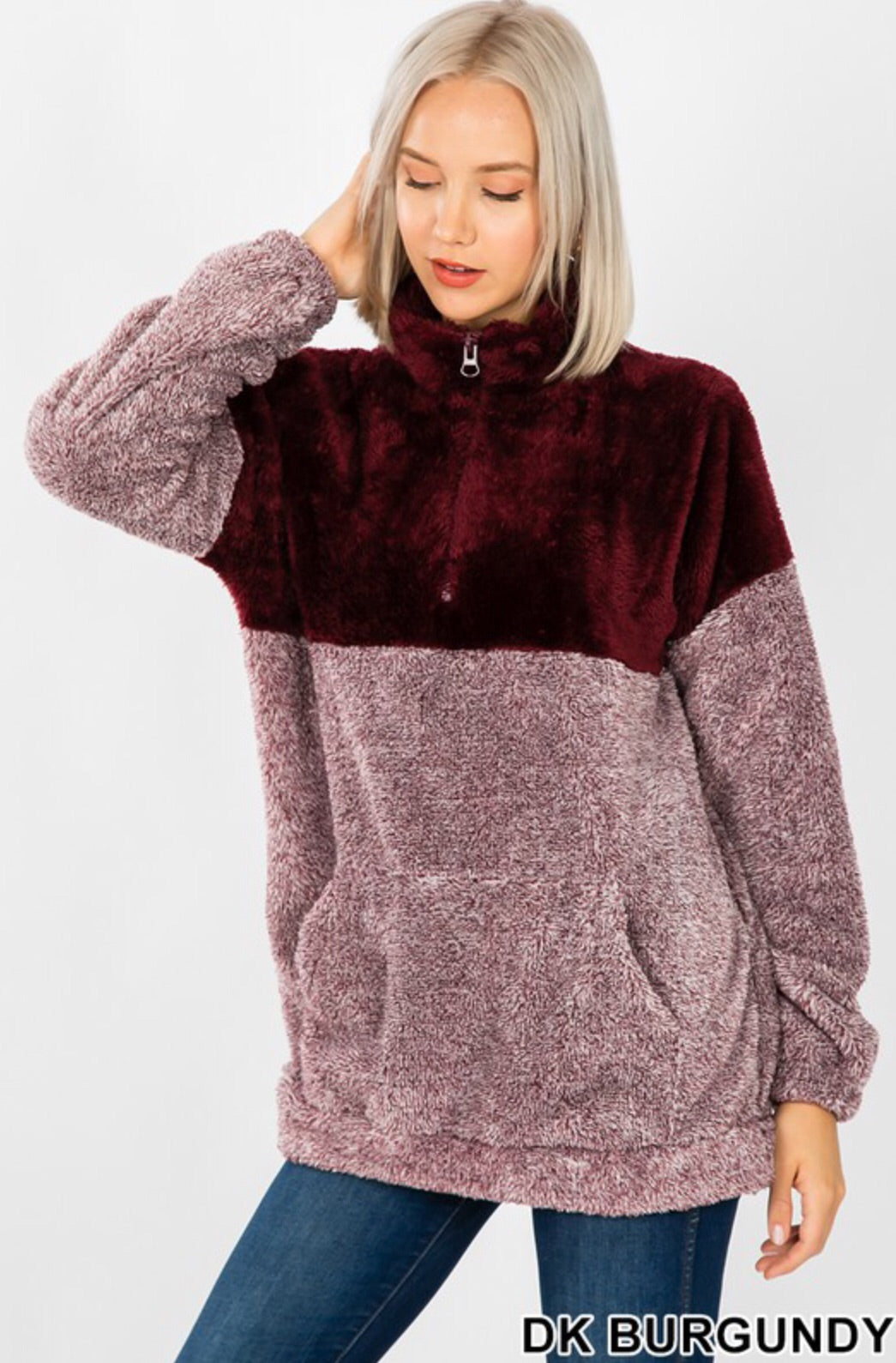 Curvy Gal 2 Toned Sherpa Pull Over - multiple Colors