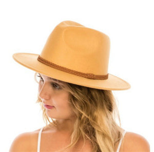 Hat with vegan leather strap