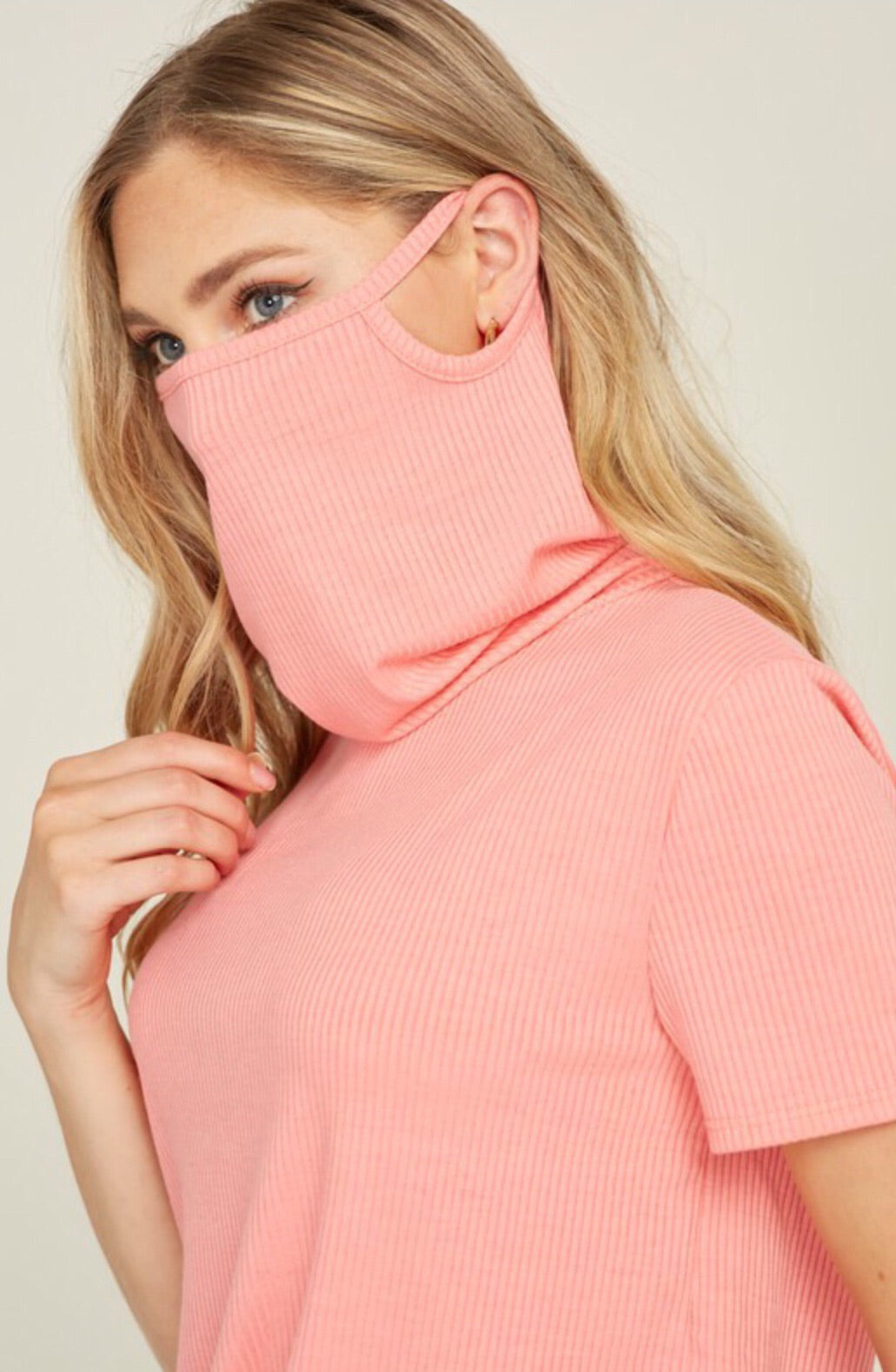 Cowl Neck Mask Top in Black