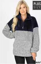 Load image into Gallery viewer, Curvy Gal 2 Toned Sherpa Pull Over - multiple Colors