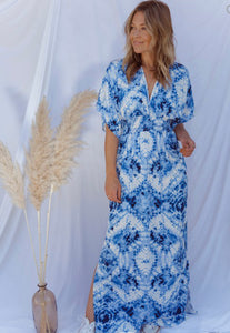 Vacation Dreams Blue and White Maxi