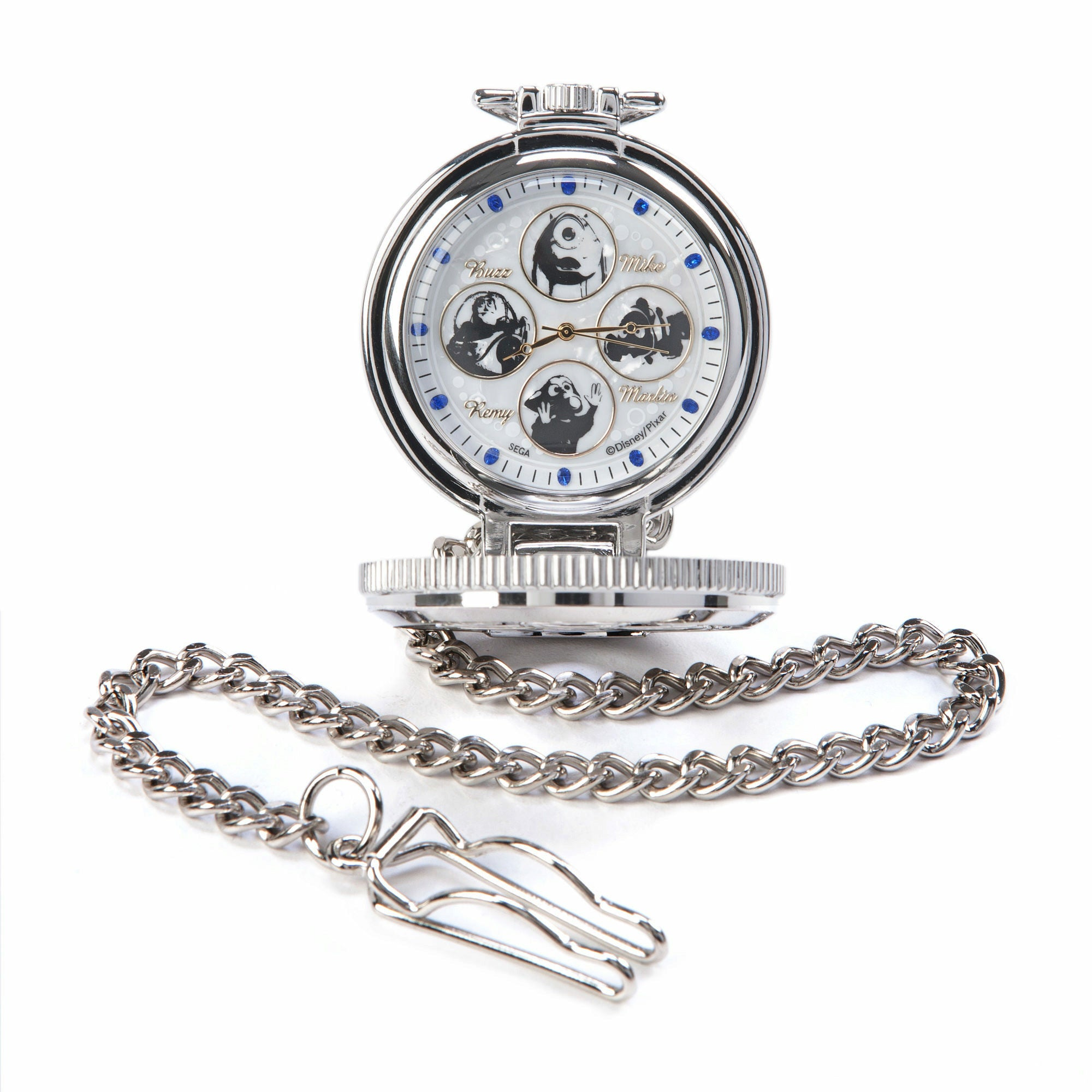 Disney Pixar Blue Rhinestone Characters Pocket Watch