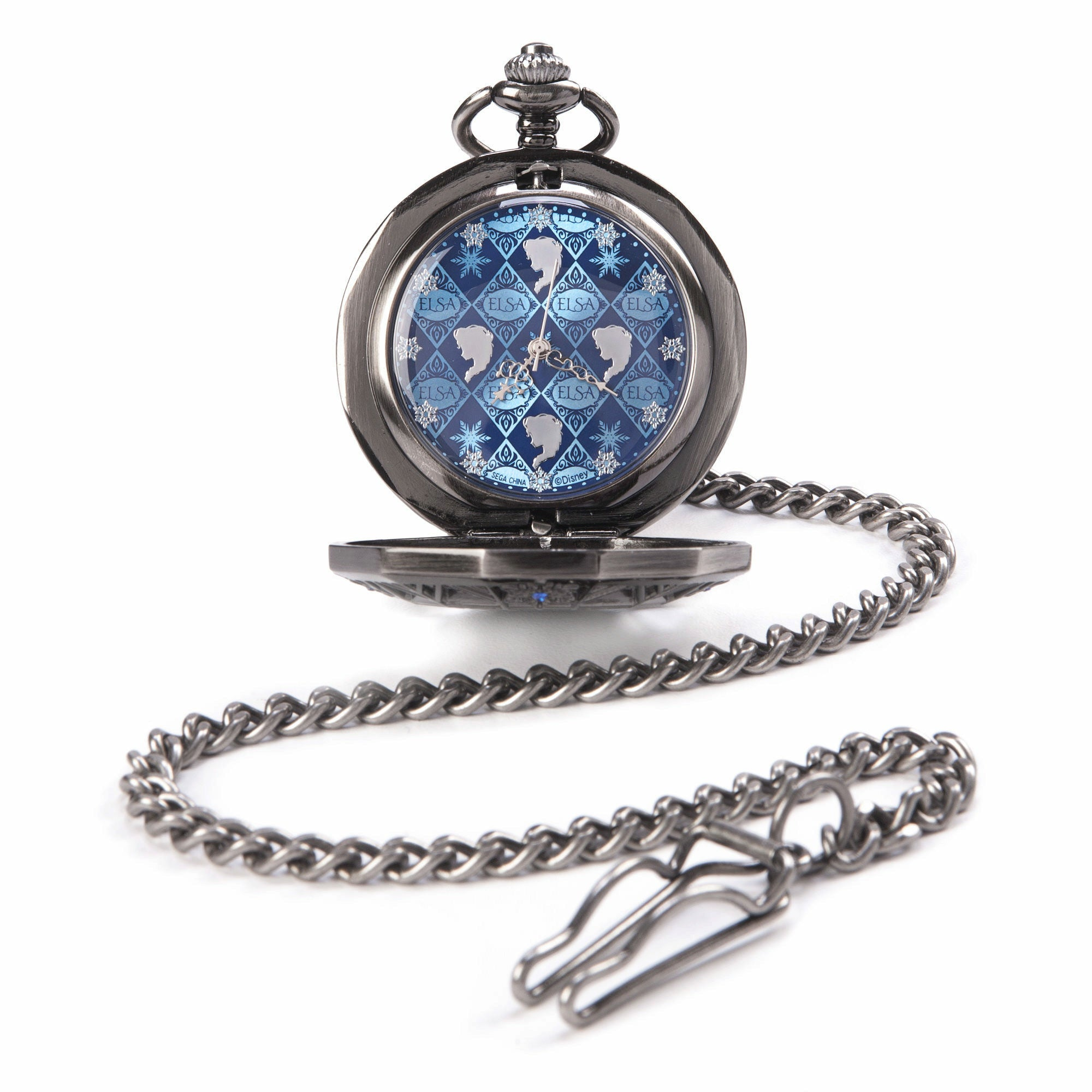 Disney Frozen Elsa Blue Rhinestone Pocket Watch