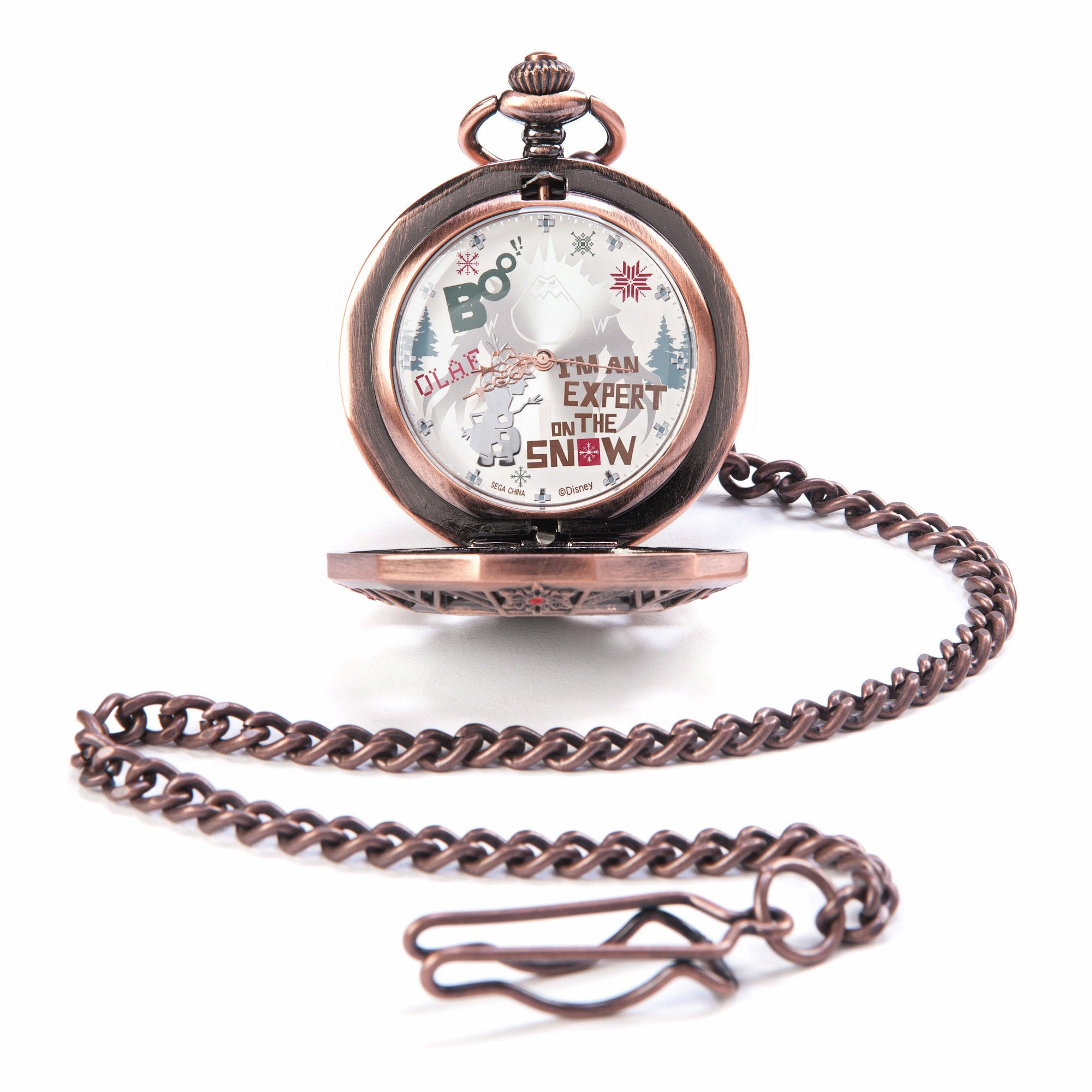Disney Frozen Olaf & Marshmallow Red Rhinestone Pocket Watch