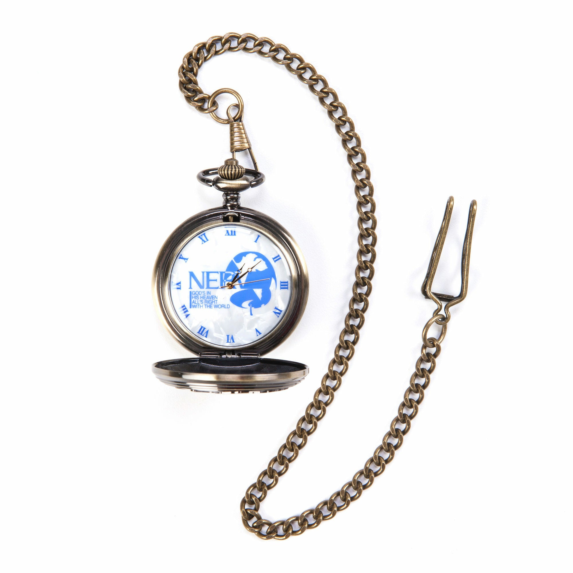 Evangelion 2.0 You Can (Not) Advance Blue NERV Logo Pocket Watch
