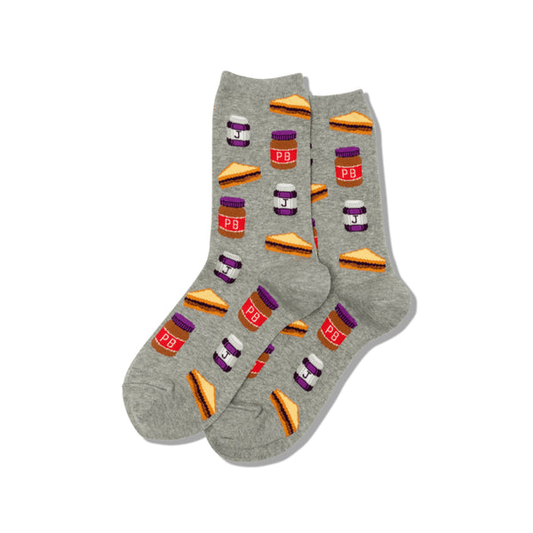 Peanut Butter and Jelly Women's Grey Crew Socks