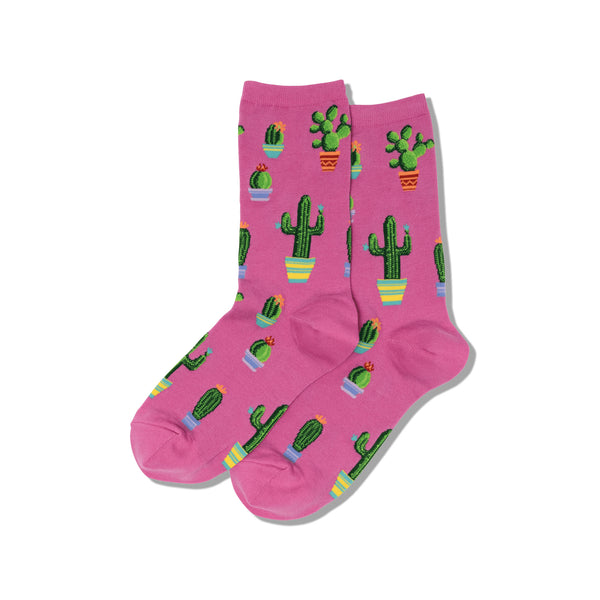 Potted Cactus Women's Pink Crew Socks