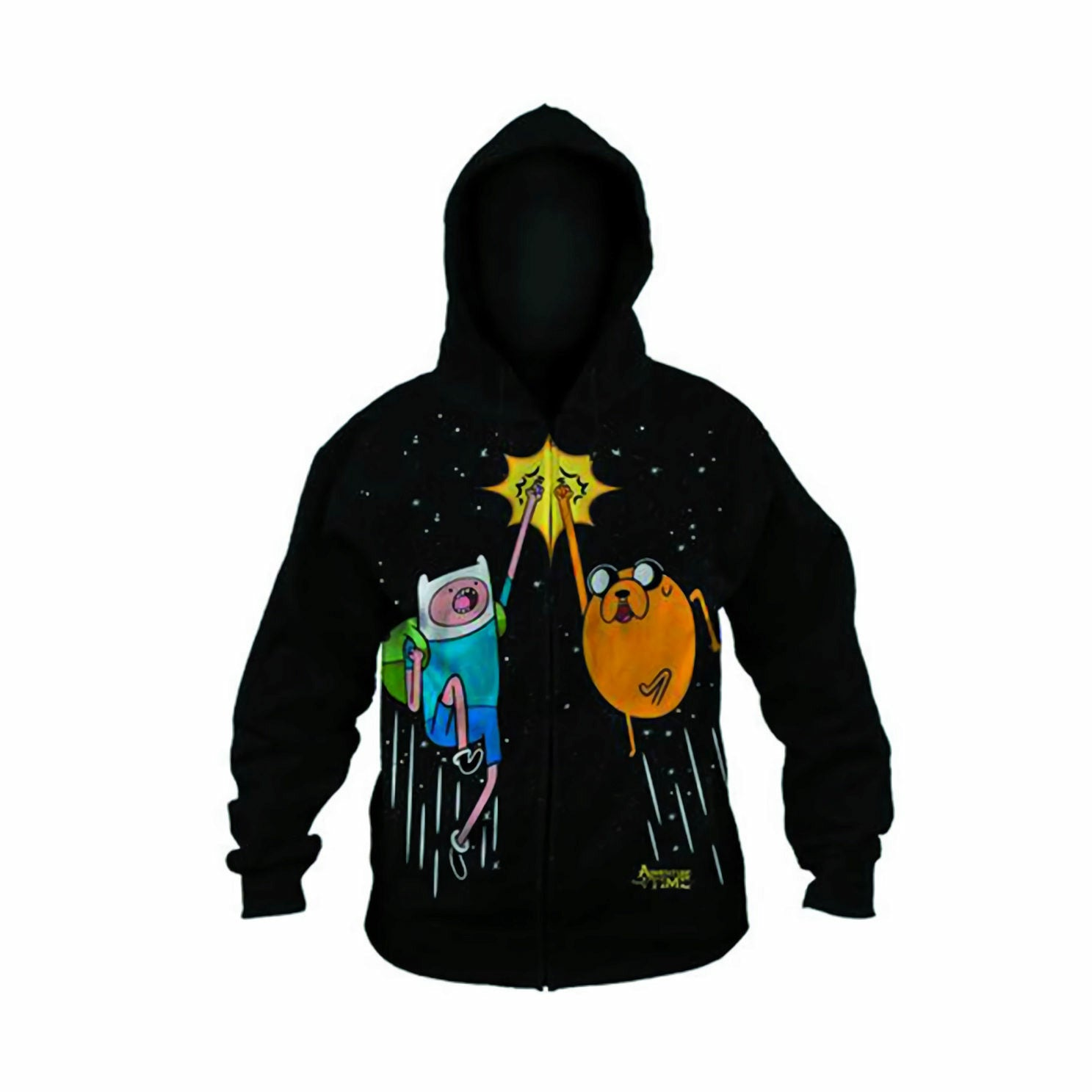 Adventure Time Space Fist Bump Black Zip up Hoodie Sweatshirt | S