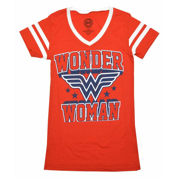 DC Comics Wonder Woman Logo Varsity Juniors V-Neck T-Shirt