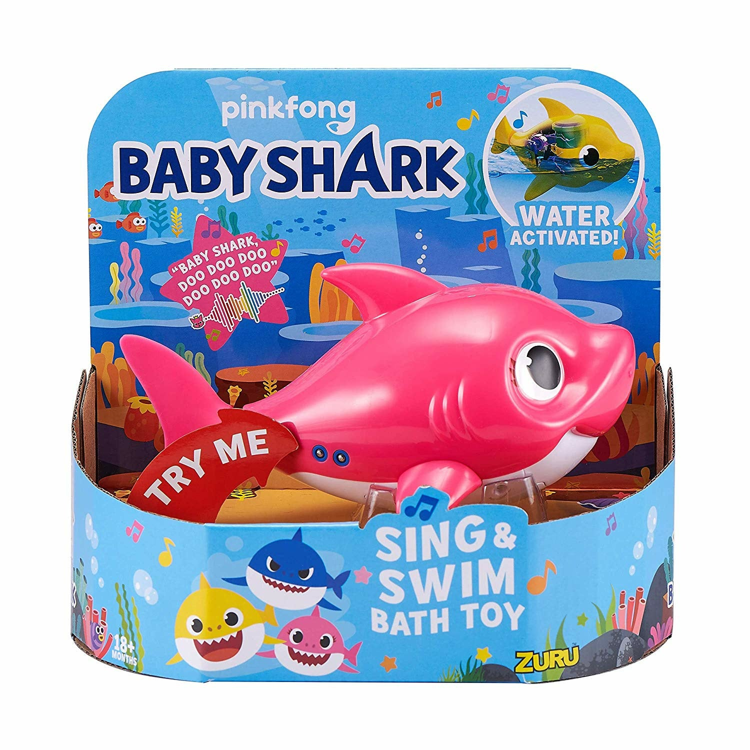 Baby Shark Mommy Shark Pink Robo Alive Junior Sing & Swim Bath Toy
