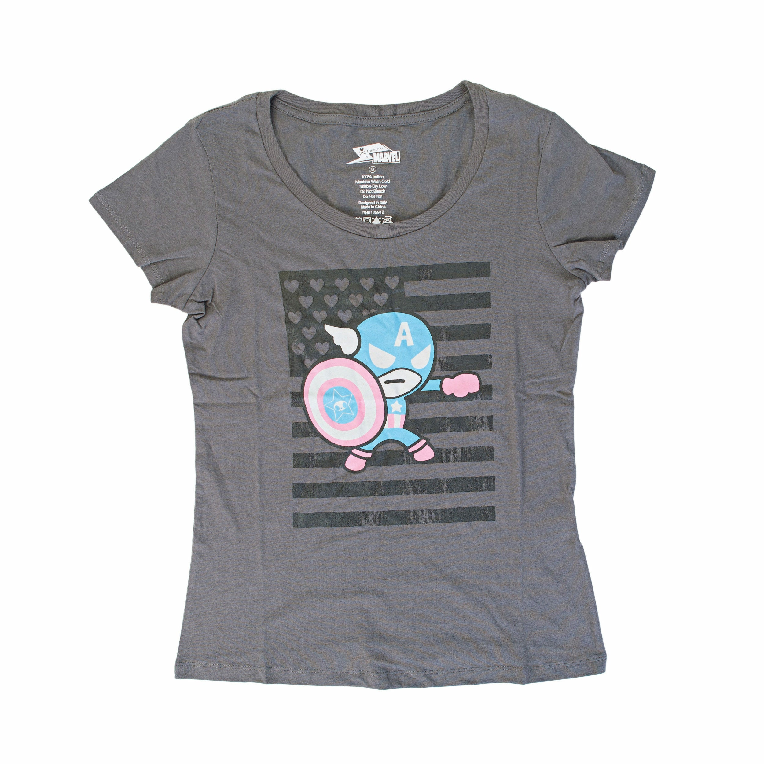 Tokidoki X Marvel: Capatin America Flag Woman's Charcoal T-Shirt