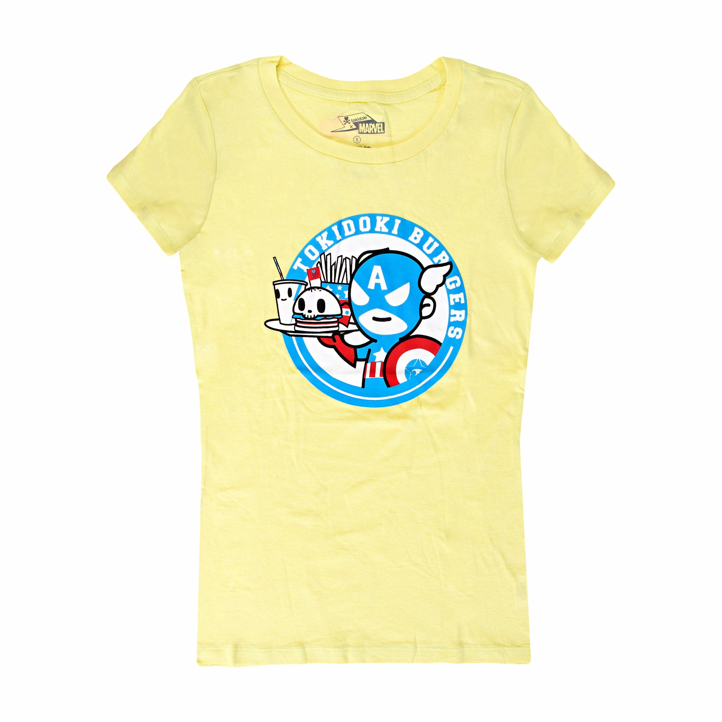 Tokidoki vs Marvel Tokidoki Burgers Yellow Juniors T-Shirt