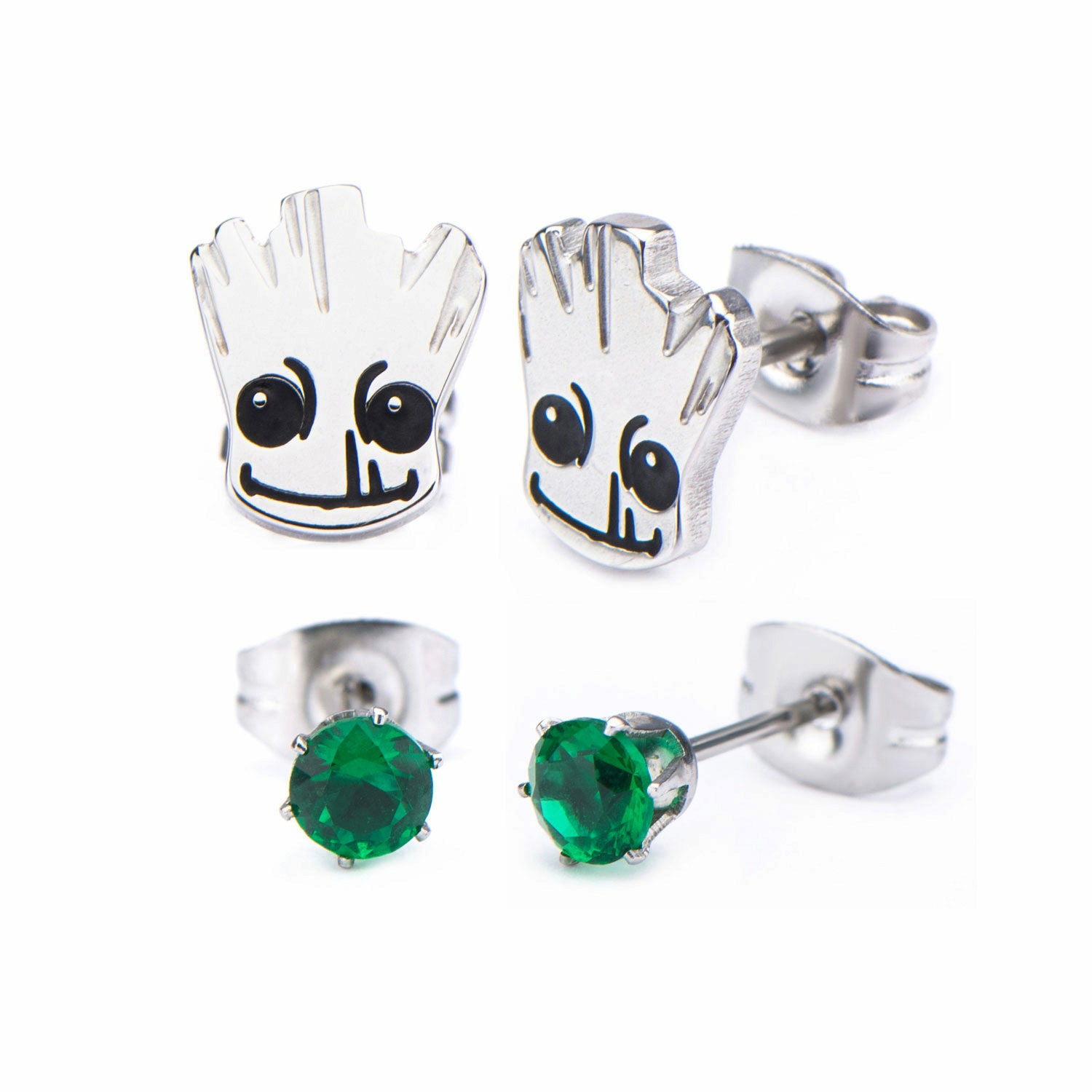 Marvel Guardians of the Galaxy Groot Stainless Steel Stud Earring Set