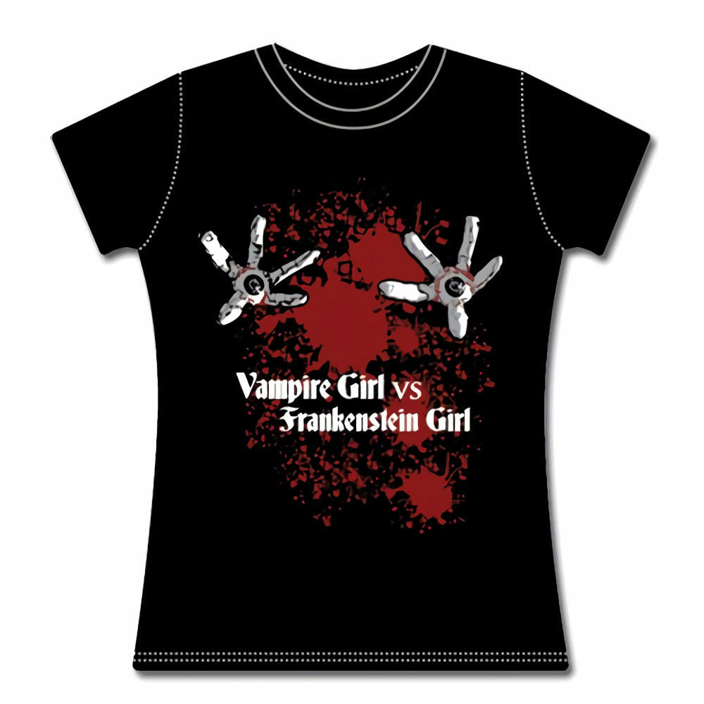 Vampire Girl vs Frankenstein Juniors Eyeball Girl T-Shirt