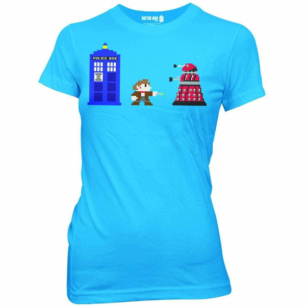 Doctor Who 8 Bit Juniors Turquoise T-Shirt