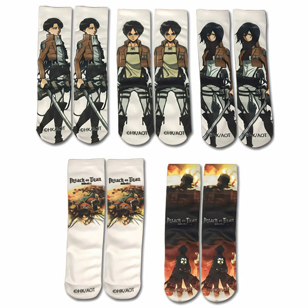 Attack on Titan 5-Pack Sublimation Socks