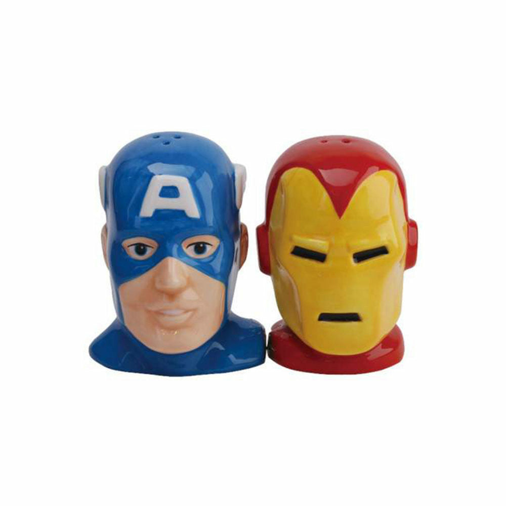 Marvel Captain America & Iron Man Heads Magnetic Ceramic Salt & Pepper Shakers