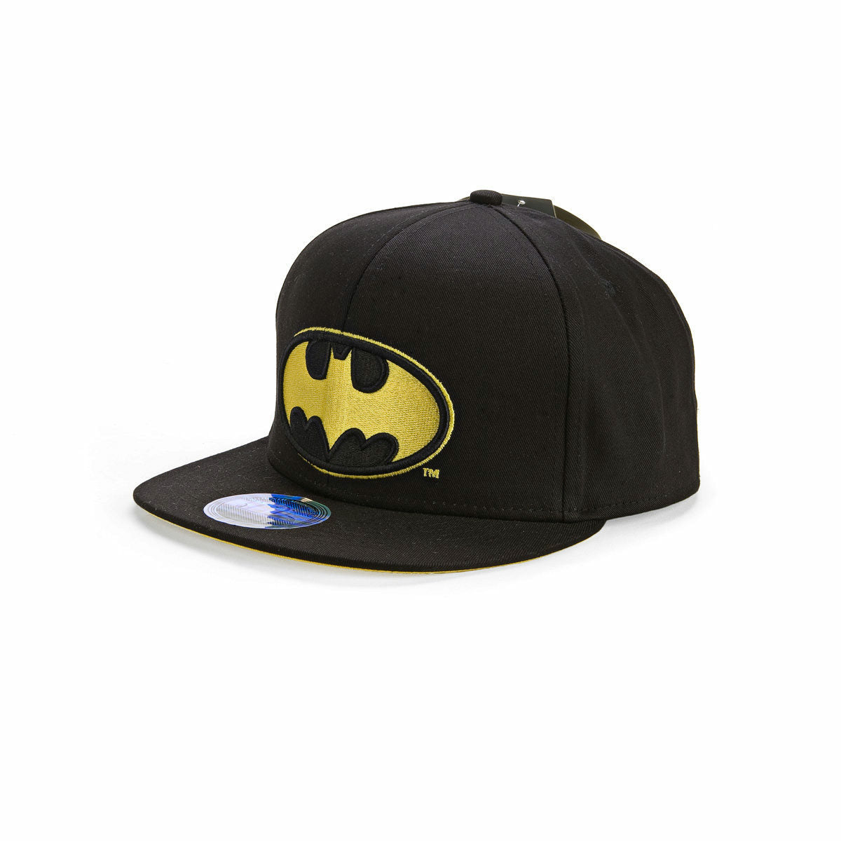 Batman Bat Signal Logo DC Comics Embossed Black Flat Bill Adjustable Hat Cap