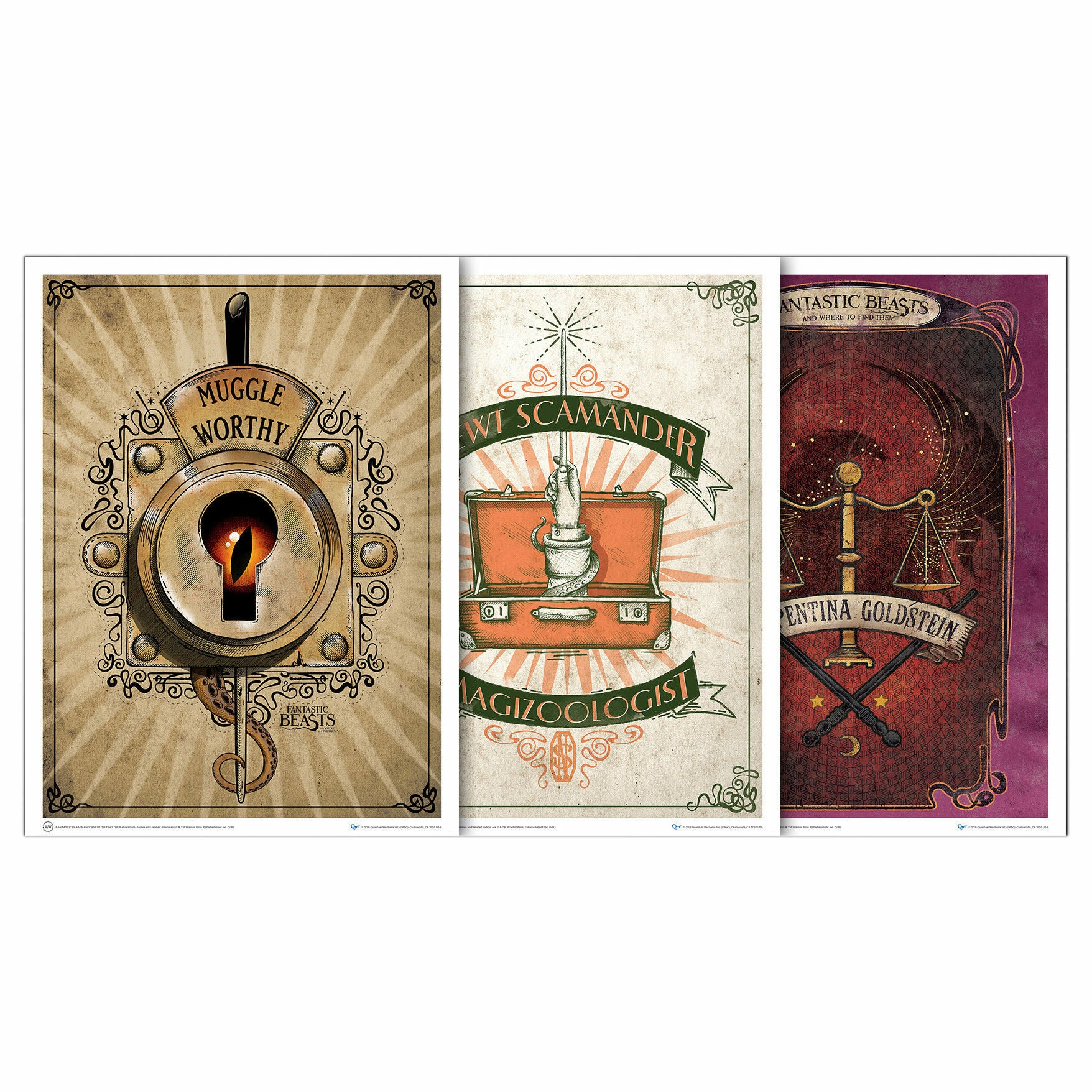 Fantastic Beasts and Where to Find Them Set 1 Art Print Posters Set of 3