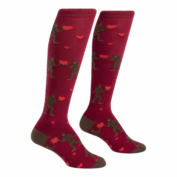 Sock It To Me Sasquatch Valentine Funky Knee High Socks