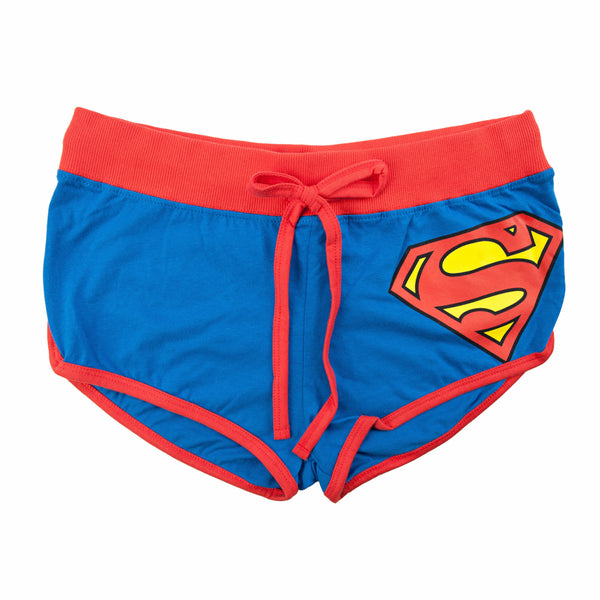 Superman Front Tie Juniors Blue Booty Shorts