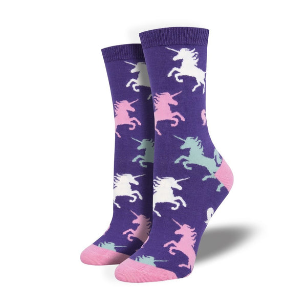 Bamboo Dream Big Purple Crew Socks