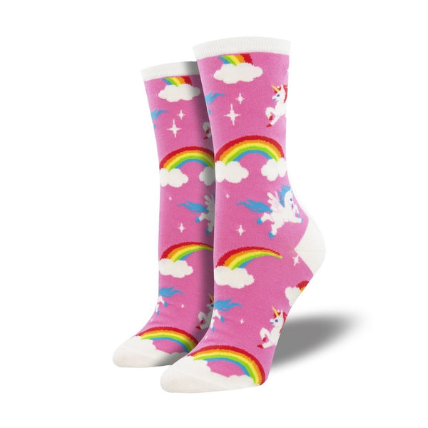 Pegasus Party Pink Crew Socks