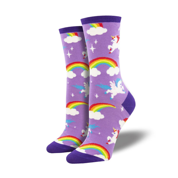 Pegasus Party Purple Crew Socks