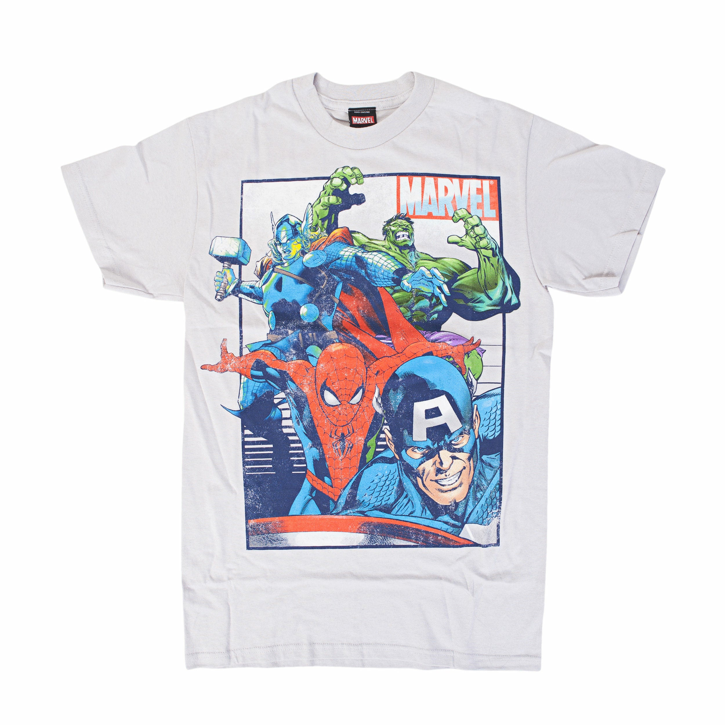 The Avengers Marvel Team Up Rag Nog Silver T-Shirt