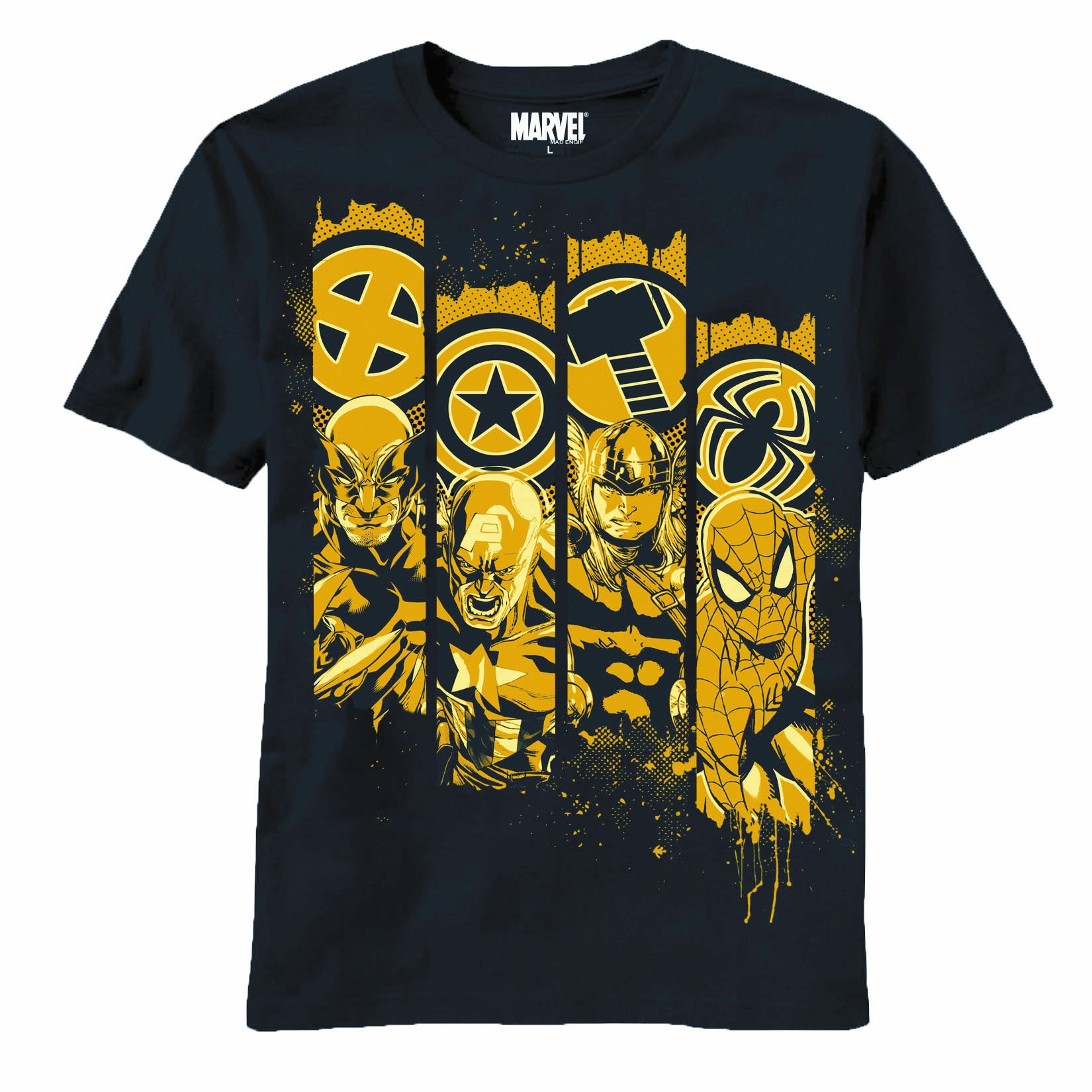 Marvel Heroes Pillars Navy T-Shirt