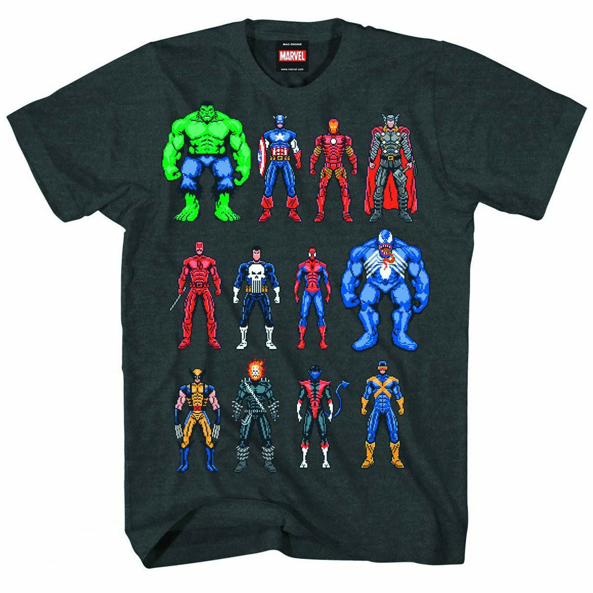 Marvel Heroes Twelve Up Mens Charcoal T-Shirt