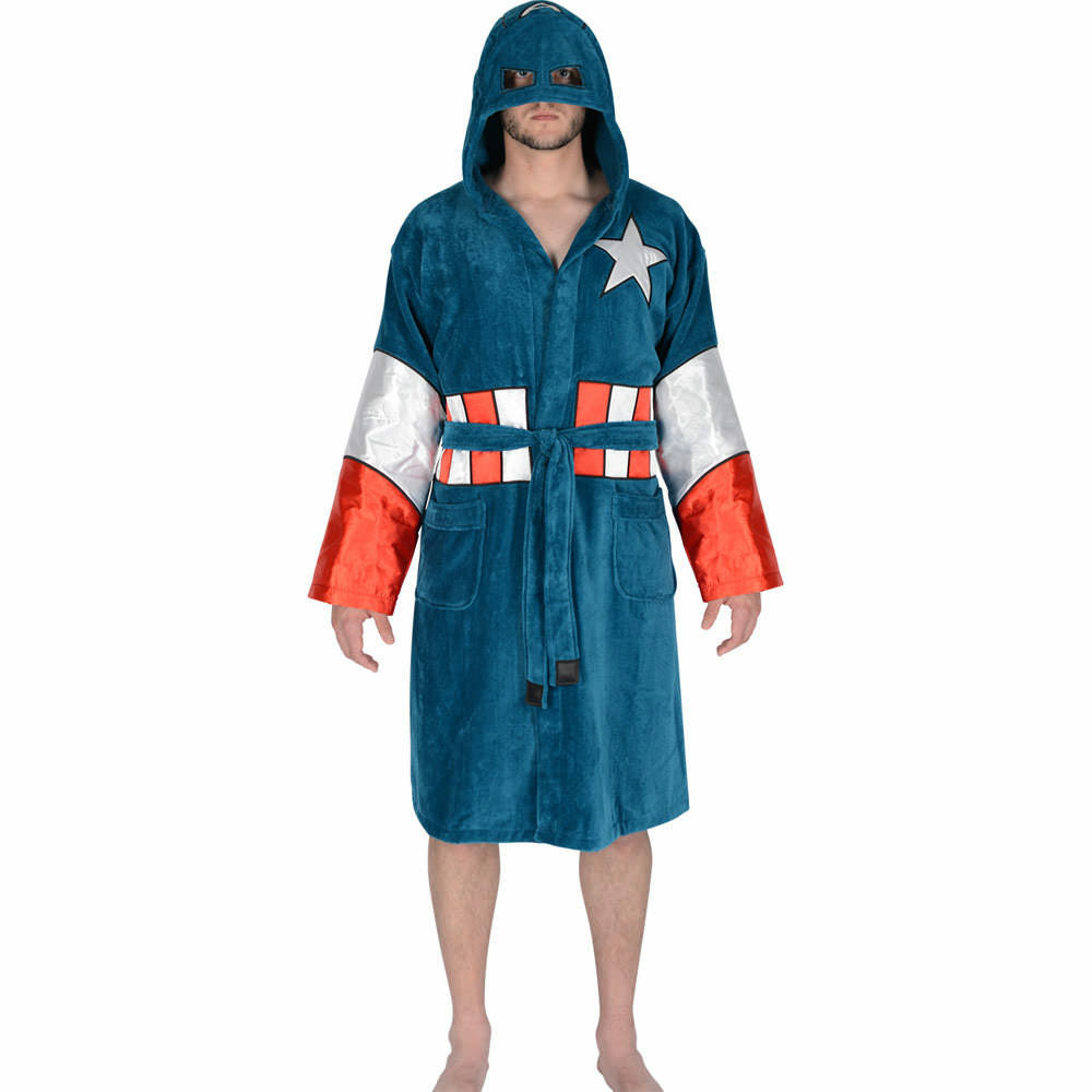 Marvel Captain America Hooded Costume Cotton Bathrobe