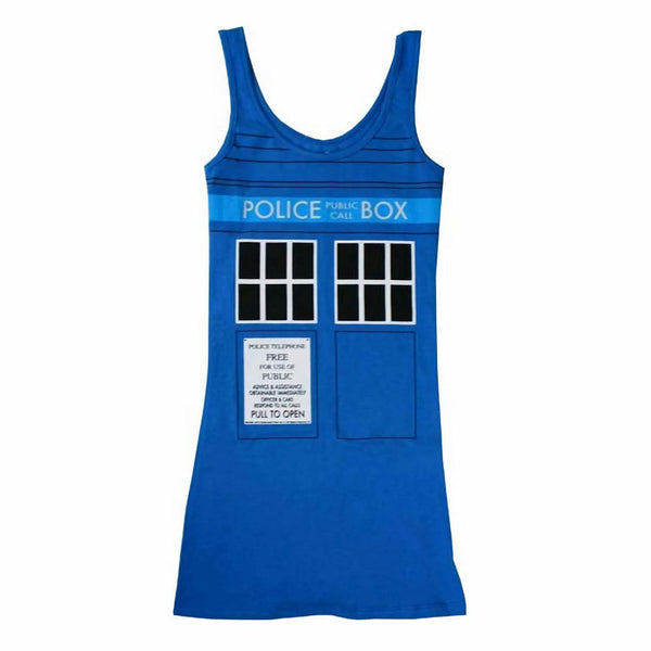 Doctor Who Tardis Womens Blue Tank Top