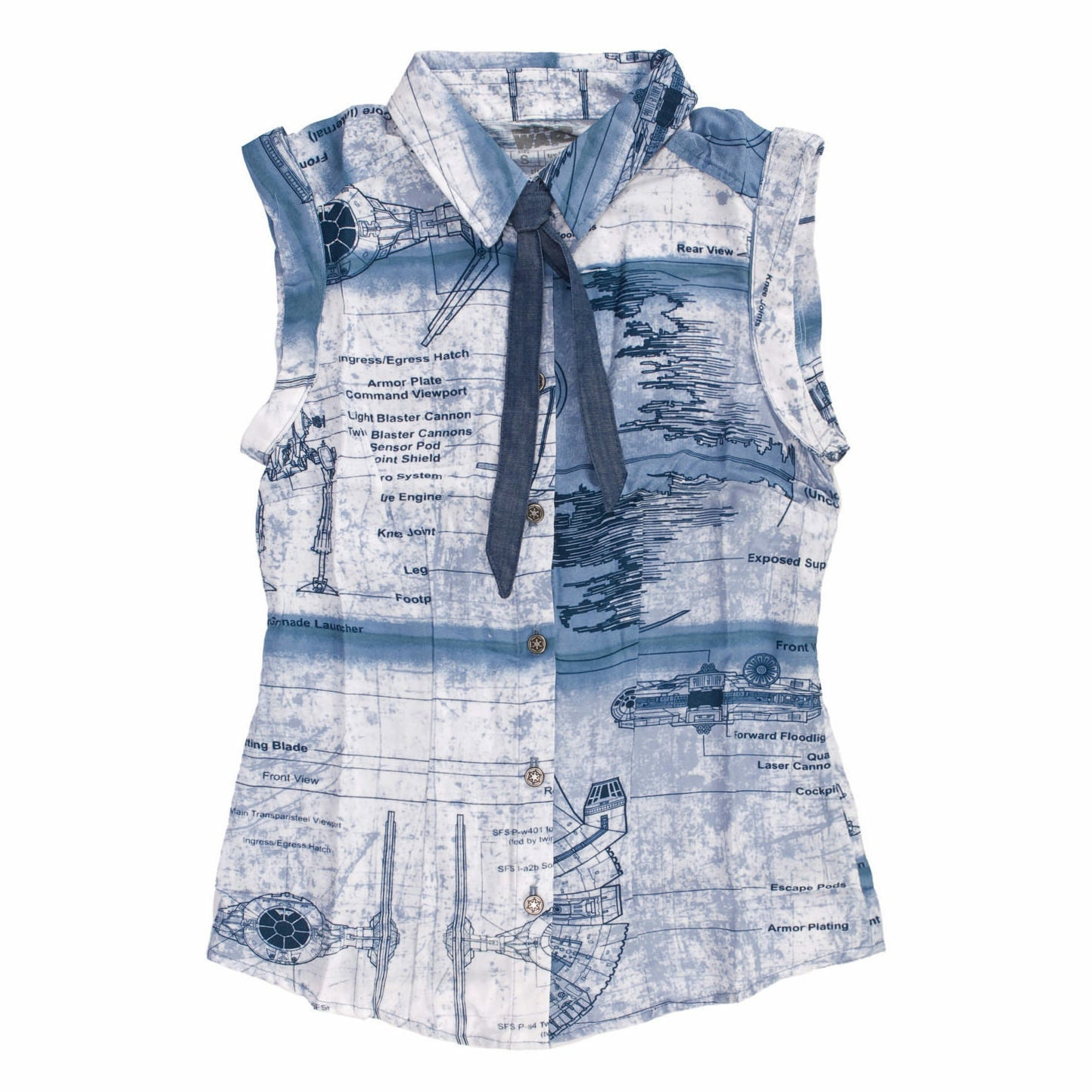 Star Wars Schematics Womens Woven Button Up Tank Shirt