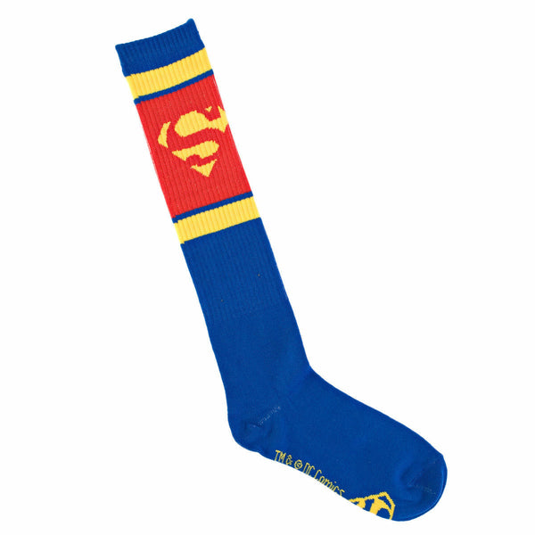 DC Comics Superman Logo Blue and Red Athletic Knee High Socks