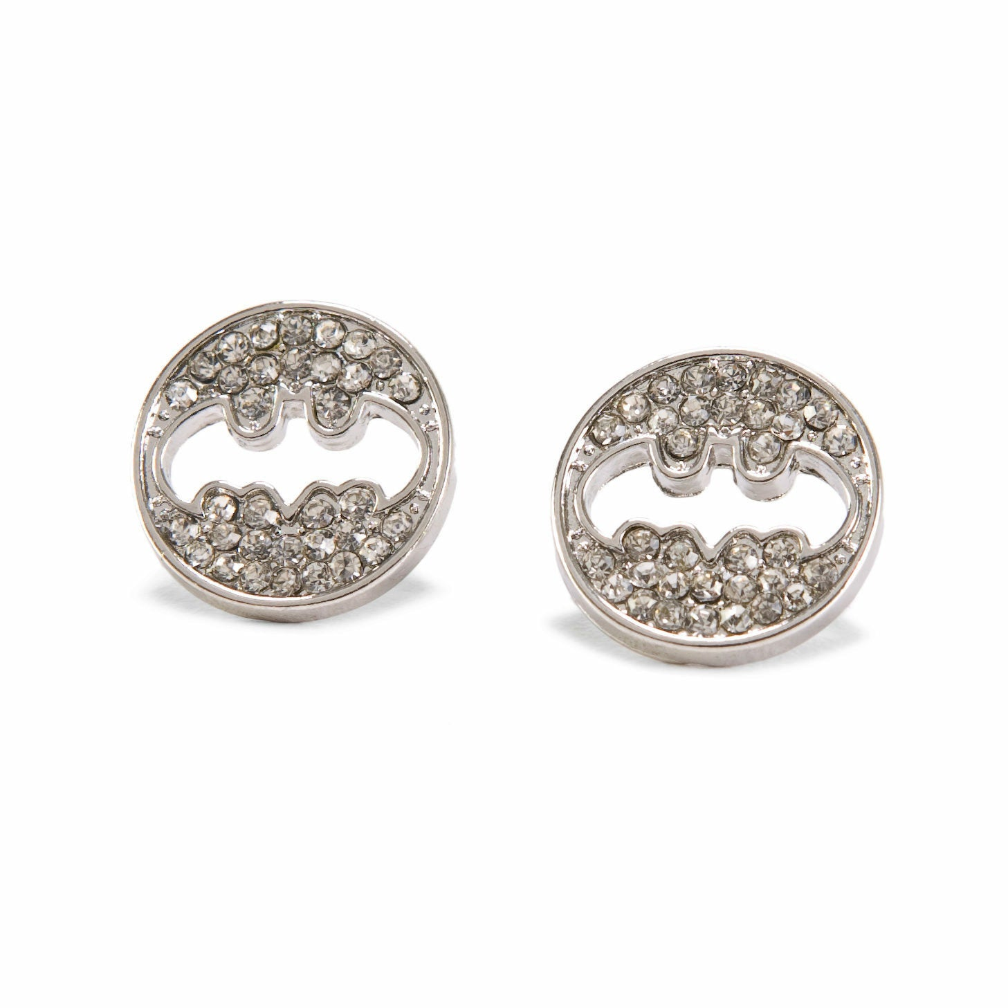 DC Comics Batman Logo Rhinestone Cut Out Earrings