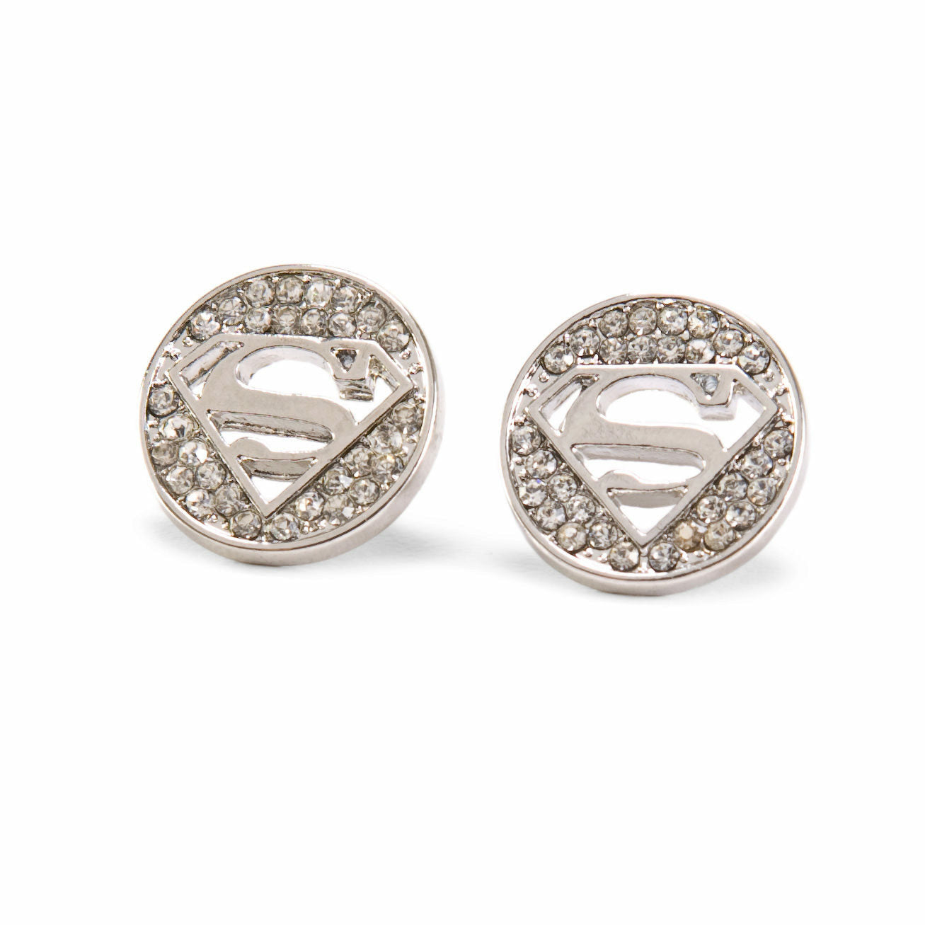 DC Comics Superman Logo Rhinestone Cut Out Earrings