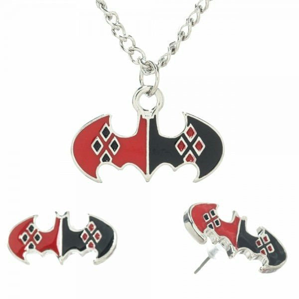 DC Comics Harley Quinn Bat Logo Jewelry Set