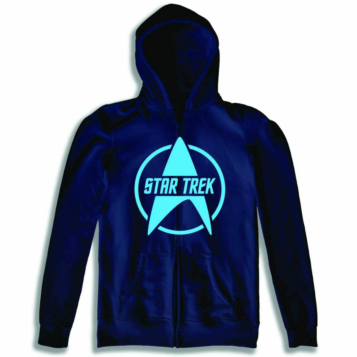 Star Trek Logo Blue Zip Up Hoodie Sweatshirt