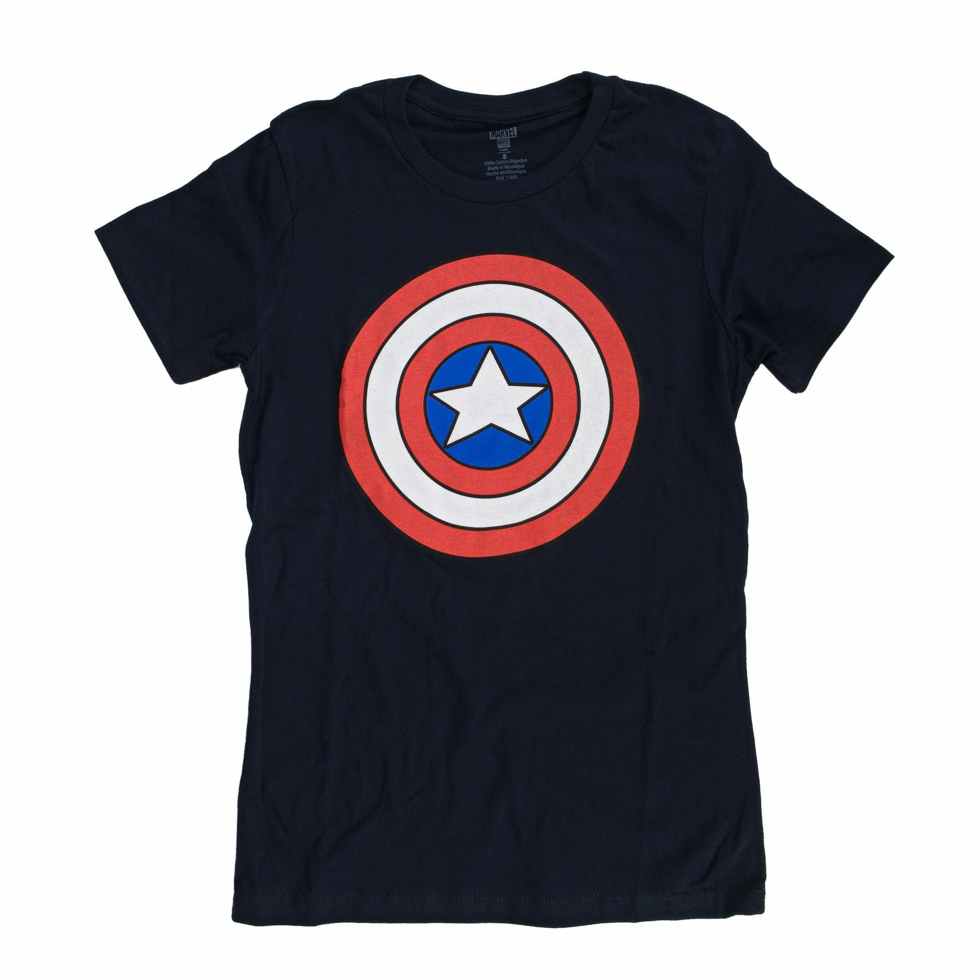 Marvel Captain America Shield Logo Juniors Navy Blue T-Shirt