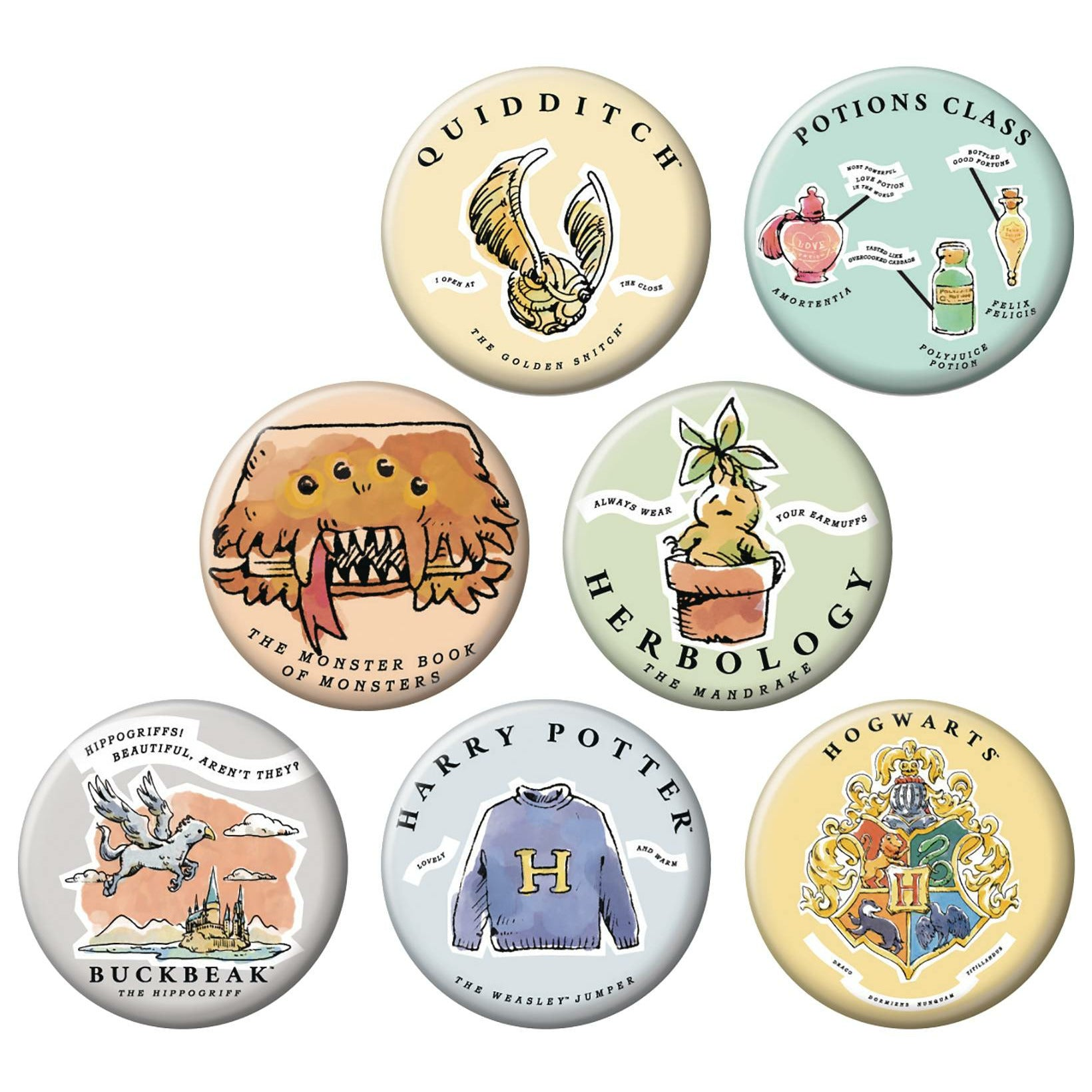 Harry Potter Whimsy 144pc Button Display