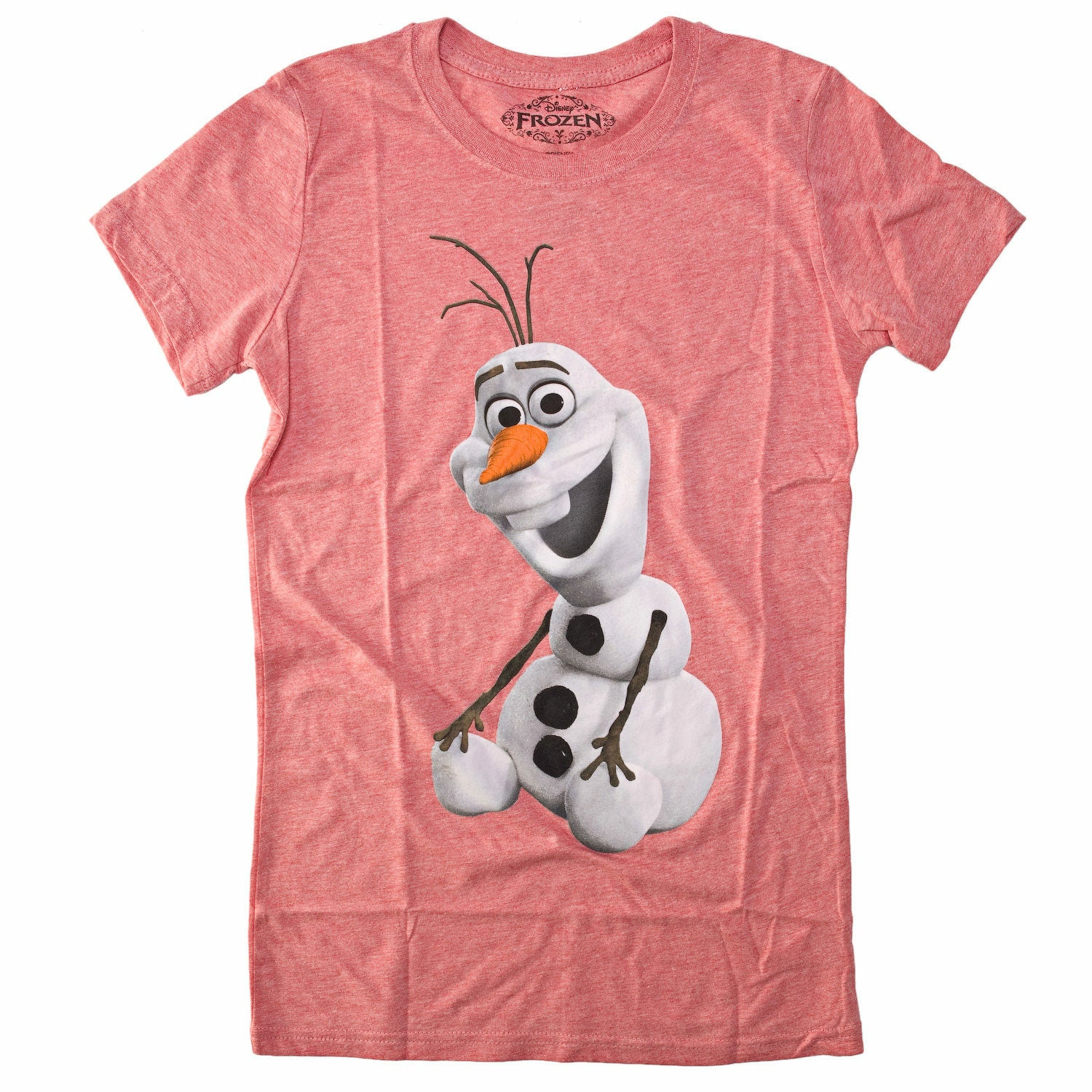 Disney Frozen Sitting Olaf Juniors Heather Red T-Shirt
