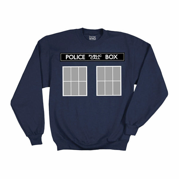 Doctor Who Tardis Call Box Mens Navy Pullover Sweatshirt