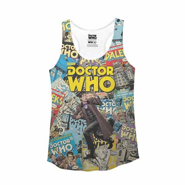 Doctor Who Comic Covers Juniors White Tank Top Shirt