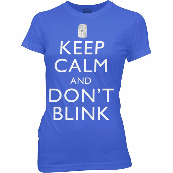 Doctor Who Keep Calm and Don't Blink Juniors Blue T-Shirt