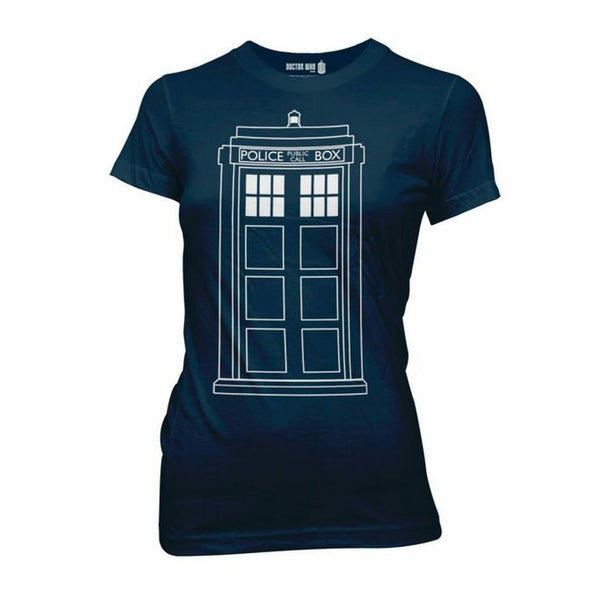 Doctor Who Tardis Phone Booth Juniors Blue T-Shirt