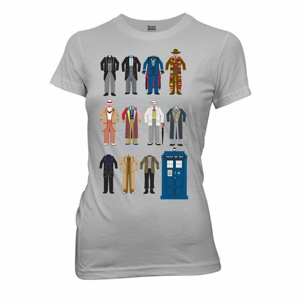 Doctor Who Doctor Outfits Juniors Grey T-Shirt