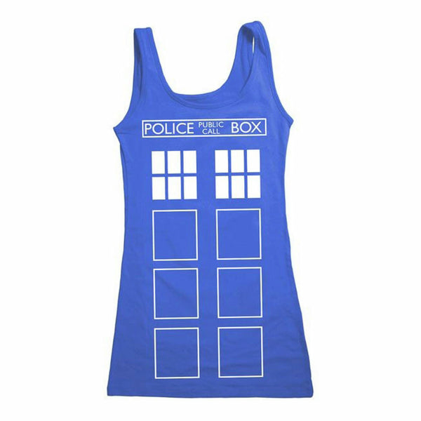 Doctor Who Tardis Front Outline Juniors Tank Top Shirt